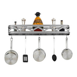 Hi-Lite MFG - Sonoma 34 in. Wall Rack in Satin Steel Finish - Includes four pot rack hooks. Accessories not included. Made from steel. 34 in. L x 5 in. HHi-Lite achieved success through attention to detail and stubbornness to only manufacturer the highest quality product. Hi-Lite has built its reputation as a premier lighting manufacturer by using only the finest raw materials, inspirational designs, and unparalleled service. This allows us great flexibility with our designs as well as offering you the unique ability to have your custom designs brought to Light.