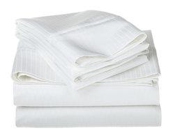1000 Thread Count Egyptian Cotton Queen White Stripe Sheet Set - 1000 Thread Count Egyptian Cotton oversized Queen White Stripe Sheet Set