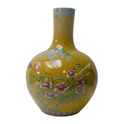Golden Lotus - Oriental Chinese Yellow Base Birds Flower Porcelain Vase - This is a nicely hand made porcelain vase with yellow base color and birds and assorted flowers graphic on the body. The mouth and bottom has charming accent pattern as a touch.