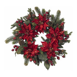 "Nearly Natural - Poinsettia and Berry Wreath - A ring of colorful holiday festivity. Colorful reds and greens burst forth. Perfect to fill an area with holiday cheer. Construction Material: Polyester material, Iron wire, Pinecone, Poly Foam, Plastic. 24 in. W x NA in. D x 24 in. H ( 2.5 lbs. )Easily one of our most colorful offerings, this 24"" Poinsettia & Berry Wreath is a preverbal ring of festivity! Holiday colors simply explode from this wreath, filling the eyes with dazzling reds and greens, in all manner of shapes and sizes. Ideal for those times you want to literally ""fill"" an area with holiday cheer. Also makes a fabulous gift."
