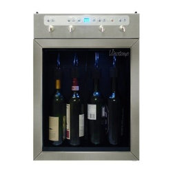 Vinotemp - Four Bottle Wine Dispenser (Stainless) - Preserve, chill and dispense up to 4 bottles of wine with the Vinotemp 4 Bottle Wine Dispenser. Push button controls make it easy to pour the perfect glass of red or white wine. The portion control feature allows you to customize the amount of wine dispensed into a glass, so you never have to worry about serving the wrong amount. The VT-WINEDISP4 makes the perfect gift for the wine aficionado in your life, and it's also a great way for restaurants and bars to serve and preserve open bottles of wine.