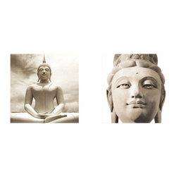 Platin Art - Platin Art Buddha - Set of Two - Buddha - Set of Two by Platin Art Deco Glass Wall Decor - Art on Glass - Buddha - Set of 2 - 11.75-by 11.75-Inch each Wall Art (2)