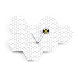 Progetti - Time2Bee 2260 White Wall Clock - Fun and colorful wall clock, ideal for children's rooms or for bringing a touch of fun and light heartedness to ones surroundings. Made of steel, Time2bee replicates the shape and design of hives where a yellow and black bee, hung to the minute hand, moves easily between the recesses.
