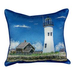 Betsy Drake - Betsy Drake Scituiate, MA Lighthouse Pillow- Indoor/Outdoor - Scituiate MA Lighthouse Pillow- Large indoor/outdoor pillow. These versatile pillows are equal at enhancing your homes seaside decor and adding coastal charm to an outdoor setting arrangment. They feature printed outdoor, fade resistant fabric for years of wear and enjoyment. Solid back, polyfill. Proudly made in the USA.