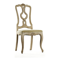"Kathy Kuo Home - Monte Carlo French Country Solid Birch Dining Chair - ""Dine in understated elegant refinement with these natural birch dining chairs. The intricate carving of the seat back and frame with the simplicity of the light birch create  mixed aesthetic of the renaissance and Queen Anne styles."
