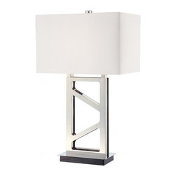 Minka George Kovacs - Minka George Kovacs 1-Light Polished Nickel White Linen Shade Table Lamp - This 1-Light Table Lamp has a Polished Nickel Finish and a White Linen Shade.
