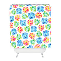 DENY Designs - Cmykaren Jewels Shower Curtain - Who says bathrooms can't be fun? To get the most bang for your buck, start with an artistic, inventive shower curtain. We've got endless options that will really make your bathroom pop. Heck, your guests may start spending a little extra time in there because of it!