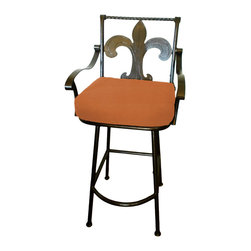 "Surf Side Patio - Fleur-de-lis Grande Swivel Bar stool, Tuscan, 24"" Counter Height - Accent your breakfast bar, home bar, tiki bar or patio with the hand crafted, wrought iron Fleur-de-lis Swivel Bar stool.  Made from thick guage, powder coated wrought iron, these gorgeous over sized bar stools swivel 360 degrees and bring a elegant touch to any area of your home, indoor or outdoor."