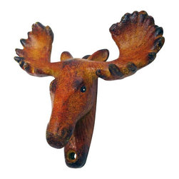 EttansPalace - Moose Tracks Cast Iron Bottle Opener - Mount your own moose trophy that does double duty with the cleverly-disguised bottle opener under its chin! Our collectible, antique replica cast iron bottle opener is created using the time-honored sand cast method, and then hand-painted in vintage hues from antlers to fur. This exclusive, antique replica cast iron bottle opener is ready to be wall-mounted for proud vintage display.