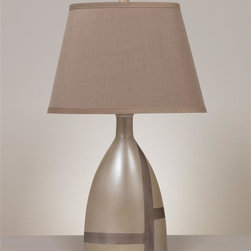 Signature Design by Ashley - Set of Two Ceramic Table Lamps - Includes 2 lamps. A light beige and mocha finished ceramic table lamp topped with a hardback shade and features a 3-way switch.. Color: Beige Brown. Material: Ceramic. 16 in. L x 11 in. W x 28 in. H (13.21 lbs)
