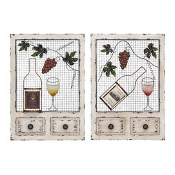 Wood Metal Wall Decor 2 Assorted with Entwined Glasses - Demonstrate your passion for vintage decor through the design of the metal wine wall decor. Wine wall art displays two wine bottles and two wine glasses entwined with a grapevine. This beautiful design will add character to your walls. It will definitely add a classy style to your bare walls and earn you accolades for your choice for home decoration. Moreover, it can also be used as a gift item for anniversaries and token of love. This easy to maintain wall decor will instantly light up the dull and boring walls of any living space. Crafted from premium quality metal, this wall decor is easy to maintain and offers lasting durability. This is a good choice of gift for your office colleague who loves to sip his wine in a style.. It comes with following dimensions