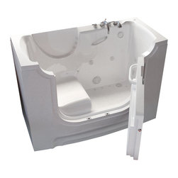 Spa World Corp - Meditub 30x60 Right Drain Whirlpool and Air Jetted Wheelchair Accessible Bathtub - Meditub's walk-in bathtub offers safety and independence in an elegant package. Featuring safety features such as a built in color matched grab bar, non-slip floor texture and a wide swinging door for easy entering and exiting of the tub. Fusing the industry�s highest standards for quality construction with an inspired artistic vision offering a beautifully glossy finish reinforced with a stainless steel frame and 6 adjustable legs for leveling. Also included is an ADA compliant contoured seat for comfortable support.