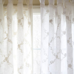 "Taylor Linens - Trellis Cream Curtain Panel Linen Voile, 42""x96"" - This sheer, linen voile curtain panel is embroidered with an all-over trellis pattern. 100% Linen Voile. Machine Washable. Cream.  42""x96"" Please note: these panels are currently stitched with white embroidery over cream linen voile."