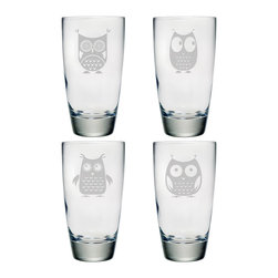 Susquehanna Glass - Owls Classic Cooler Glass, 18oz, S/4 - Each curvaceous 18 ounce tumbler features a different sand etched owl design. Dishwasher safe. Sold as a set of four. Made and decorated in the USA.
