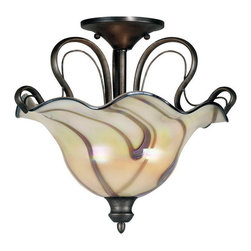 Kenroy Home - Kenroy 90898TS Inverness 2 Light Semi-Flush - You won't be able to take your eyes off of these stunning art glass shades evoking detailed handmade craftsmanship.  Paired with supple flowing ironwork in a Tuscan Silver finish, the Inverness collection will be the star of your living space.