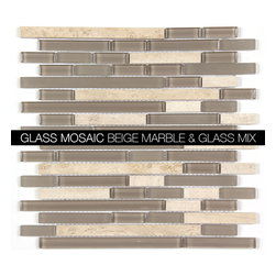 All Marble Mosaic Glass and Stone blend Random Strip 12 x 12 Mosaic Tile Mag-444 - Glass and Stone Blend Mosaic Tiles and Backsplash from All Marble Tiles | All Marble Mosaic Glass and Stone blend Random Strip 12 x 12 Mosaic Tile Mag-4443-ST |  http://AllMarbleTiles.com