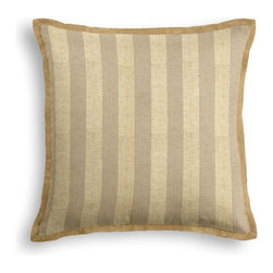 Metallic Gold Striped Beige Linen Tailored Pillow - The Tailored Throw Pillow is an updated, contemporary pillow style with the center fabric framed by a thin contrast flange.  Voila_��__it_��_��_s artwork for your couch!  We love it in this classic awning stripe with a modern metallic twist: gold foil printed on beige linen.