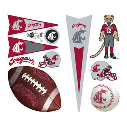 York Wallcoverings - NCAA Washington State Cougars 23pc Wall Accent Stickers - Features: