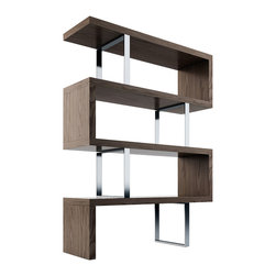 MODLOFT - Pearl Bookcase - The Pearl bookcase adds a modern edge to any room. Four fixed hardwood shelves with ladder-style steel chrome supports give the Pearl a light appearance.