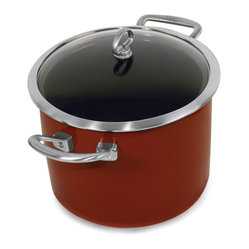 Chantal Copper Fusion Stockpot, Chili Red