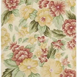 Nourison - Nourison Hand-hooked Fantasy Ivory Rug (2'6 x 4') - This beautiful transitional rug is meticulously crafted with hand-hooked yarns for additional texture and dimension. Enchanting designs and red,ivory,green and yellow hues come together to create a magical ambiance for any interior.