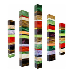 Earth Totem Collection - Glass Wall Sculptures - A contemporary collection of three-dimensional stained glass wall sculptures with vibrant opalescent colors. Glass wraps around 3 sides with the hanging mechanism at the back of the piece. Built over expanded polystyrene (EPS). Can be hung in a variety of ways.