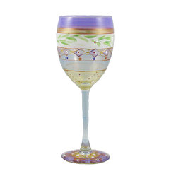 Golden Hill Studio - Mosaic Garland Wine Glass - Of course the environment affects the flavor of wine. In this case, a spectacularly artistic presentation of your favorite vintage is just bound to help it taste better. Each hand-painted glass just adds to the experience.