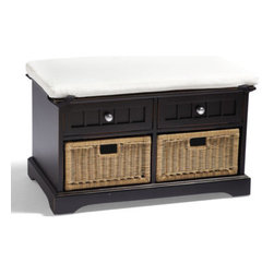 Grandin Road - Chelsea 2-drawer Storage Bench - Sturdy, solid-wood construction. Moisture-resistant, hand-rubbed finish. Nickel-plated stainless steel hardware. Arrives fully assembled. Ensure all those wayward must-haves in mudrooms and entryways have a beautiful place to call home with our space-maximizing Chelsea 2-drawer Storage Bench. Features a comfortable—and removable—cushion; two double-glide drawers; and two removable, PVC-wicker baskets.  .  .  .  .