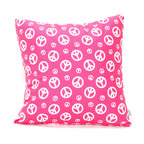 Majestic Home - Indoor Hot Pink Peace Large Pillow - Work towards world peace one pillow at a time. This overstuffed cotton twill square is the sign of the times — and great design, too. A very cool vibe for your favorite casual setting.