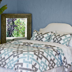 Geometric Print Designer Duvet Cover, The Fillmore Blue - Blue and gray are the perfect complements with this soft geometric printed contemporary duvet.  Finishing details include edge piping, interior corner ties and zipper enclosures.