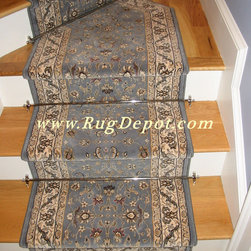 Dynamic Brillant Kashan Blue - Dynamic Brillant Kashan Blue 72284-920 Stair Runner with Stair Rods