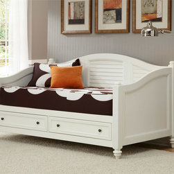 None - Bermuda Brushed White Finish Twin-size DayBed - This stylish white storage bed is a dream for the comfort-seeking organizer in all of us. Two large multi-use drawers maximize the space taken up by this comfortable daybed. Antique brushed nickel hardware accent the sharp white finish.