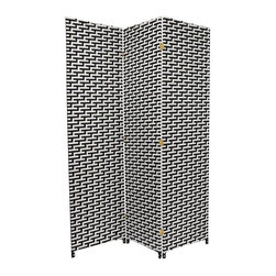 Oriental Furniture - 6 ft. Tall Woven Fiber Room Divider - Black/White - 3 Panel - A two-tone fiber screen constructed of interwoven plant fiber on a lightweight, kiln-dried wood frame. Spun plant fiber is dyed black and white and woven into patterns on each panel. Tight weave reinforces each panel while still allowing some light and air to pass through. A sturdy room divider, privacy screen or decor accent in the home or office.