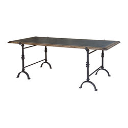 Marco Polo Imports - Edgar Dining Table - Old fashioned dining table is crafted from pristine oak and iron with a galvanized finish.