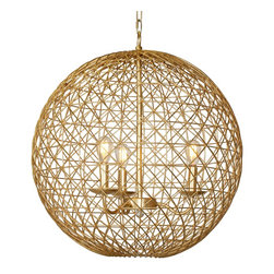 """Worlds Away - Worlds Away Large Gold Leaf 22"""" Wire Ball VERONA G22 - Large gold leaf 22"""" wire ball with four light cluster"""