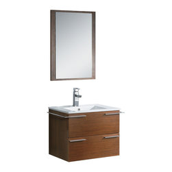 "Fresca - Fresca Cielo 24"" Wenge Brown Vanity w/ Mirror - Dimensions of vanity:  23.5""W x 18.5""D x 20""H. Dimensions of mirror:  21.25""W x 29""H. Materials:  Plywood w/ veneer, ceramic countertop/sink with overflow. Single hole faucet mount. P-trap, faucet, pop-up drain and installation hardware included.  The Fresca Cielo is one of the most compact vanities around.  This 24"" wall hung model comes with a ceramic sink and matching mirror.  Even small towel bars are attached to both sides of the vanity."