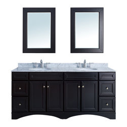 """Stufurhome - 72"""" Decker Double Sink Vanity with Carrera Marble Top - With the 72"""" Decker Double Sink Vanity, the classic and the contemporary collide. The delicately curved lines of the cabinet and timeless hardware give this piece a solid and traditional feel, while the black-white contrast of the marble top and espresso finish provide a boldness that. Dimensions: 72 in. x 22 in."""