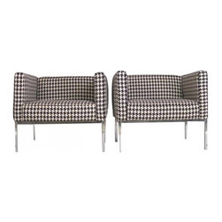 Knoll Houndstooth Club Chairs -