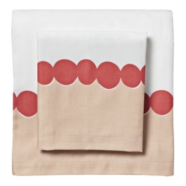 Serena & Lily - Deep Coral Deco Dot Sheet Set - Such a fun, simple layer. Artfully rendered dots have a loose, organic appeal and add a great pop of color to the bed when sheets are folded down. Especially fabulous layered with big bold graphics (like our Lamu Duvet) and smaller, more uniform prints.