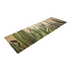 """KESS InHouse - Jillian Audrey """"Green Grass Cactus"""" Green Brown Yoga Mat - Release your inner yogi in style with these artistically unique yoga exercise mats. These mats allow you to stretch and pose freely and comfortably as they are 72"""" x 24""""! Made of a durable, textured non-slip backing foam, these 1/4"""" thick mats will cushion your body to allow you to child's pose and more during your workout routine. Carry your lightweight mat in a polyester blend bag with an adjustable shoulder strap for easy travel and clean up. These yoga exercise mats can be cleaned with a swipe of a towel and mild soap."""
