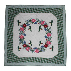 Patch Quilts - Hummingbird Quilt Queen 85 x 95 - - Intricately appliqued and beautifully hand quilted.Bedding ensemble from Patch Magic  - The Name for the finest quality quilts and accessories  - Machine washable.Line or Flat dry only Patch Quilts - QQHUMB