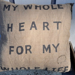 My Whole Heart Burlap Pillow by Sugarboo Designs - A rustic linen pillow with words to remind you how much your child means to you. It would be great for a child's room with an industrial look.