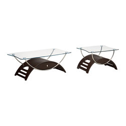 Global Furniture - Global Furniture USA T63 Meryl 2-Piece Clear Glass Coffee Table Set in Wenge - This modern coffee table is made of tempered glass and is finished in wenge. The chrome pipes makes this table a focus point for any living room.