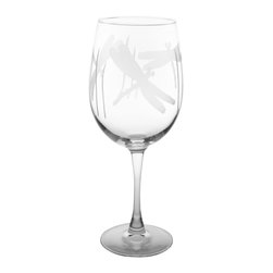 Rolf Glass - Dragonfly Wine Glass, Clear, 9.25x3, All-Purpose - Inspired by summer gardens, this dragonfly design will lift your spirit. A light-hearted rendition of a classic theme, this collection utilizes whimsy and movement. Evoke feelings of warm evenings and sunlight dancing across blades of grass. Lemonade or Lemoncello never tasted as refreshing as it does delivered by a dragonfly.  Made in USA.