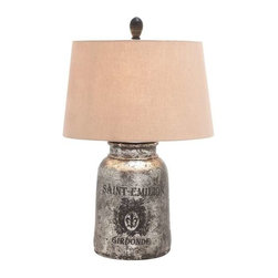 BZBZ27960 - Terra-Cotta Wooden Table Lamp, Antique Silver Finish - Terra cotta wooden table lamp in antique silver finish. When contemporary is not your style and you are yearning for something a tad rustic, then this terracotta wooden table lamp is the perfect choice. Some assembly may be required.