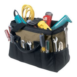 Custom Leathercraft 16 in. Large 22 Pocket BigMouth® Tool Bag - About Custom LeathercraftThis unique company really doesn't like to show off … they just like to get the job done. Starting with leather and later expanding into expertise with modern materials, this manufacturer makes high-quality, no-fuss accessories for your working life.
