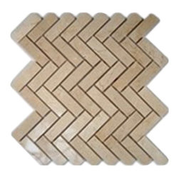 "Sample Crema Marfil Herringbone Tiles 1/4 Sheet - sample-CREMA MARFIL HERINGBONE GLASS TILES 1/4 SHEET SAMPLE You are purchasing a 1/4 sheet sample measuring approximately 6"" x 6"". Samples are intended for color comparison purposes, not installation purposes. -Glass Tile -"