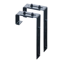 Mayne Inc. - Mayne Adjustable Deck Rail Bracket 2-pack - Accent your porch or deck railing with a Mayne window box. The adjustable deck rail brackets simply bolt to your existing window box brackets for an easy installation over a 2x4 or 2x6 wood railing. Black powder coated steel deck rail brackets.  2 pack. Adjustable bracket designed to fit over a 2x4 or 2x6 wood railing.  Hardware included to attach brackets to the window box brackets.