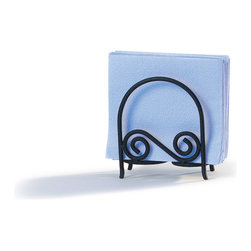 Spectrum Diversified Designs - Scroll Arch Napkin Holder - Black - From the Scroll Collection, this arch napkin holder keeps napkins neat, stacked and contained. Made of sturdy steel and a black finish.