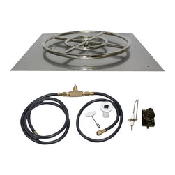 "American Fireglass - Gas Fire Pit Kit - Square w/ Spark Ignition, 24"" X 24"", Natural Gas - It's never been easier to build a professional looking gas fire pit than it is today."